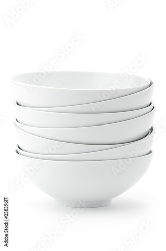 Stack of white bowls Canvas Print