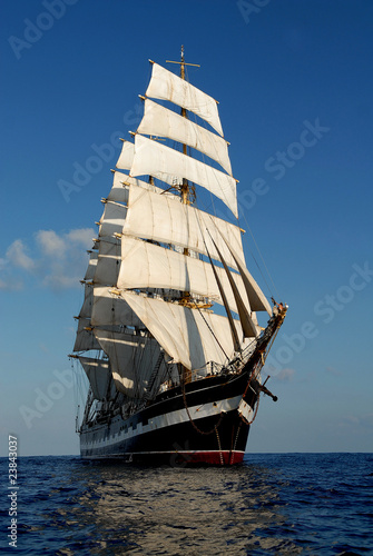 The sailing ship in the sea on waves © Alvov