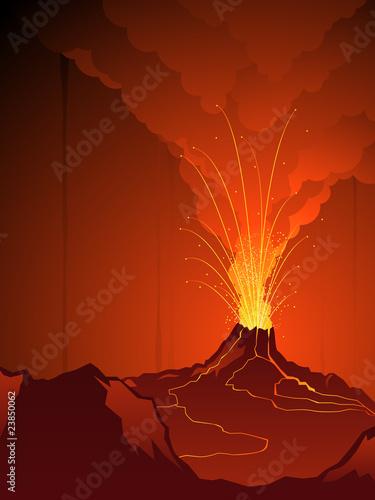 Fotografie, Obraz  Erupting volcano