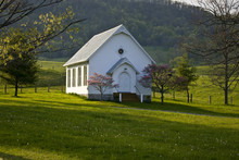 White Wooden Country Church On Hilltop In Virginia Mountains.