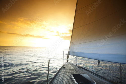 Sailing and sunset sky