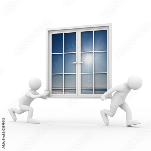 Fotografie, Obraz  Two man carry window on white background. Isolated 3D image