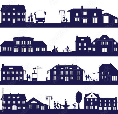 Fototapeta vie urbaine avec maison , bus et tramway