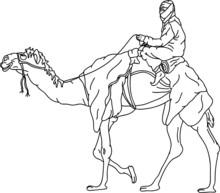 Vector - Bedouin Riding A Came...