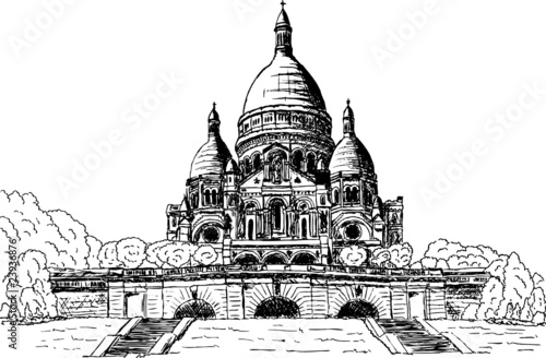 Vector -Sacre coeur, hand draw, isolated on background
