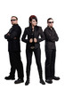 Two men in black clothes and woman stay isolated
