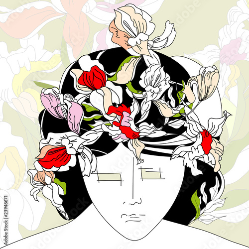 Floral femme Stylized young woman