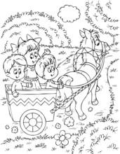 Children In A Horse-drawn Carr...