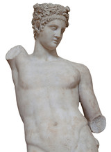 Isolated White Marble Statue Of An Armless Young Man
