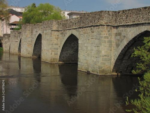 Poster Ville sur l eau Pont Saint Etienne, Vienne, Limoges, Limousin