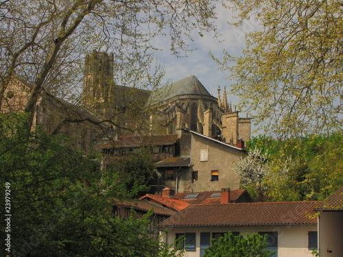 Poster Ville sur l eau Pont et Cathédrale Saint Etienne, Limoges, Limousin