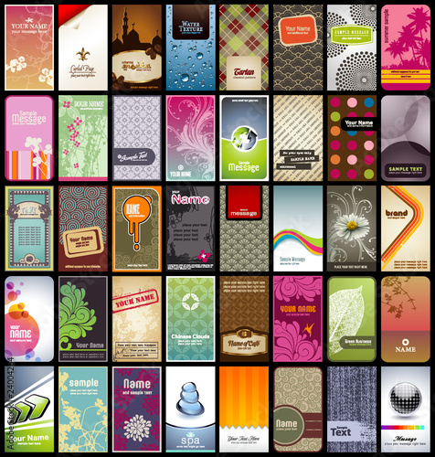 Photo  variety of 40 vertical business cards on different topics
