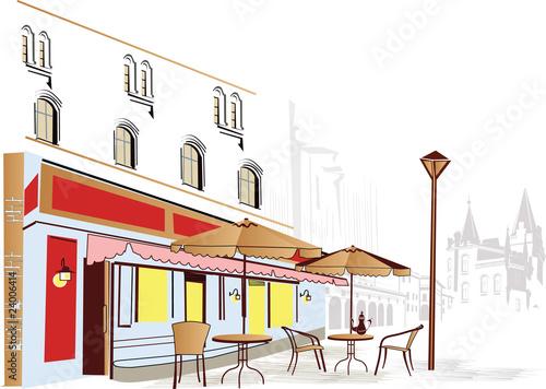 Foto auf AluDibond Gezeichnet Straßenkaffee Street-cafe