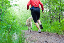 Woman Running In Forest With D...