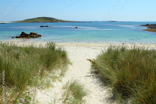 Path to Rushy Bay beach in Bryher, Isles of Scilly Cornwall UK. Poster