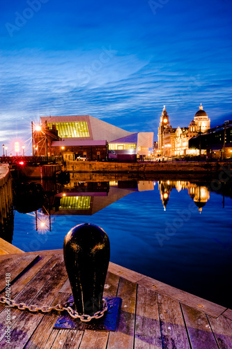 Liverpool skyline at night Poster