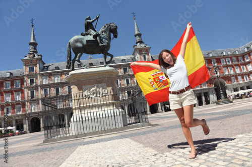 Keuken foto achterwand Madrid Madrid tourist spain flag