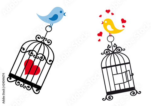 Poster Vogels in kooien birds in love with birdcage