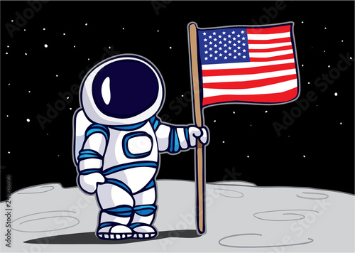 Foto op Aluminium Sweet Monsters Astronaut planting flag on the moon