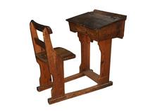 Vintage Wooden School Desk And...