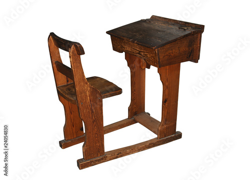 Vintage Wooden School Desk And Chair Isolated On White Buy This