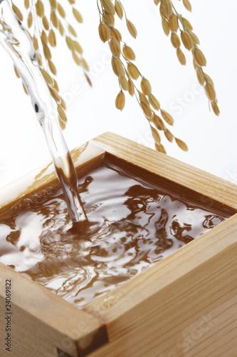 Fotografie, Obraz  日本酒と稲穂
