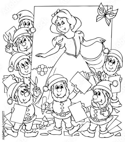 Türaufkleber Zum Malen Snow White and seven dwarfs
