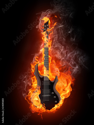 Recess Fitting Flame Electric Guitar