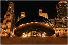 Chicago Beam At Winter Night