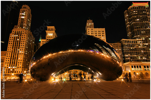 Chicago Beam at winter night