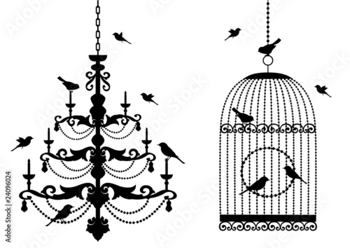 Poster Birds in cages birdcage and chandelier with birds, vector