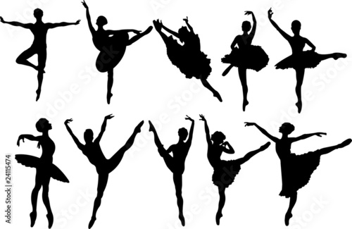Ballet dancers silhouettes плакат