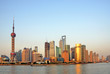 Shanghai the pearl tower and Pudong skyline at sunset