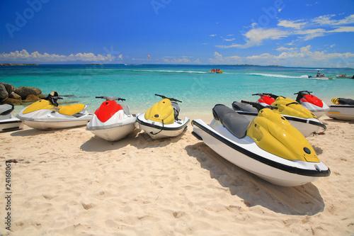 Recess Fitting Water Motor sports Jetski on Paradise Island beach