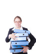 canvas print picture - Buisness Frau mit Ordnern auf dem Arm