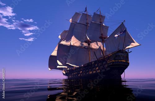 In de dag Schip The ancient ship in the sea