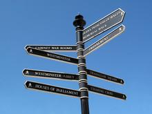 London Signpost Showing Famous...