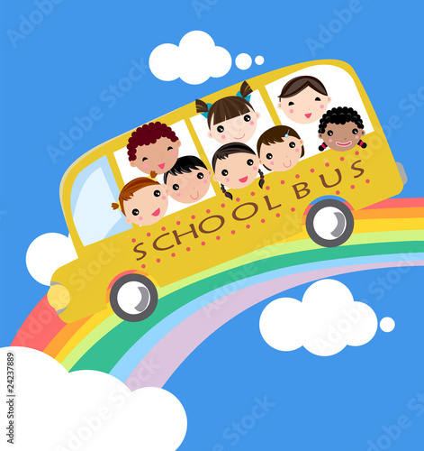 In de dag Regenboog school bus