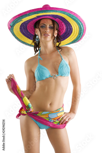 Fotografie, Obraz  summer girl with sombrero