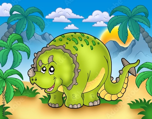 Tuinposter Dinosaurs Cartoon triceratops in landscape
