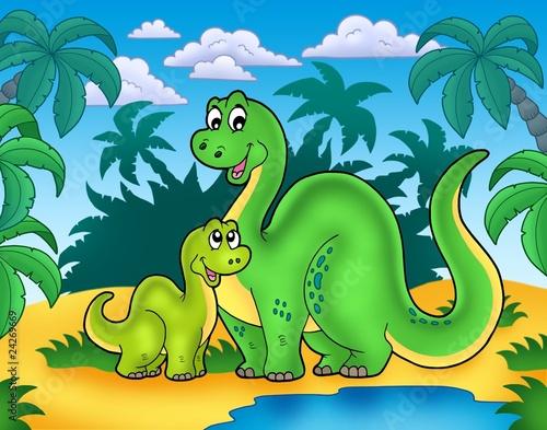 Keuken foto achterwand Dinosaurs Dinosaur family in landscape