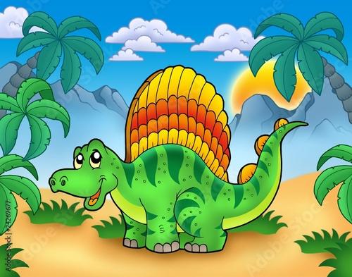 Tuinposter Dinosaurs Small dinosaur in landscape