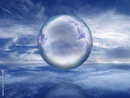 Valokuva  Glass sphere floating over a crystal sea