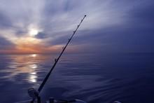 Boat Fishing Sunrise On Mediterranean Sea Ocean