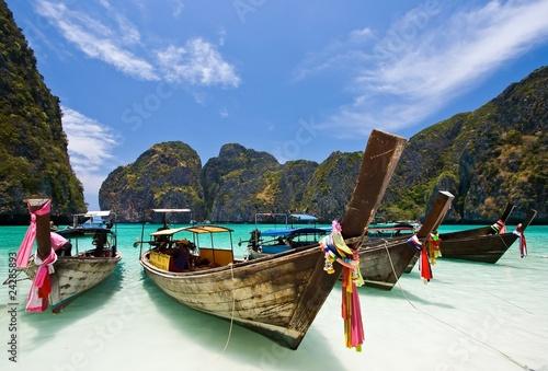 Long Tail Boat at Maya bay, PhiPhi Island , Phuket Thailand - 24285893