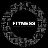 FITNESS. Circular frame with association terms.