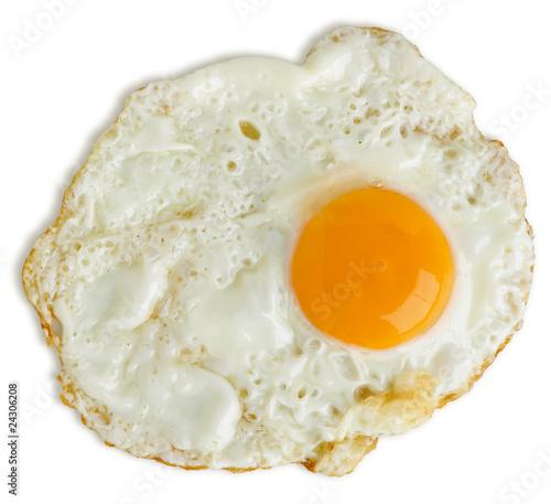 Deurstickers Gebakken Eieren Greasy fried egg on white background