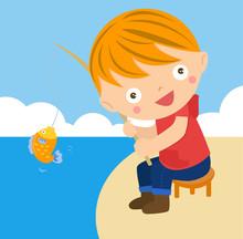 Boy Fishing, Cartoon Illustration
