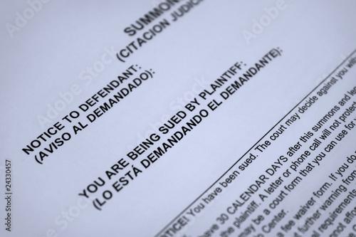 court summons legal form – kaufen Sie dieses Foto und finden Sie ...