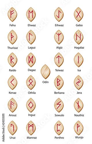 Photo  Wooden runes